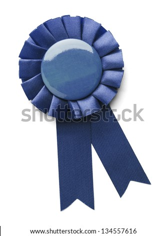 Blue 1ST place award ribbon isolated on a white background. - stock photo