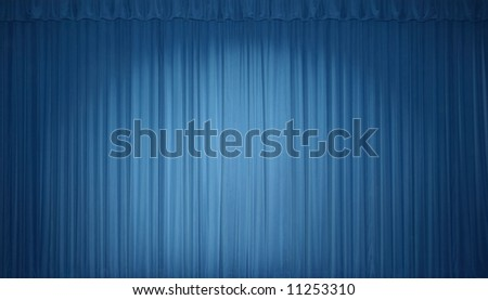 Blue stage curtain with lights - stock photo