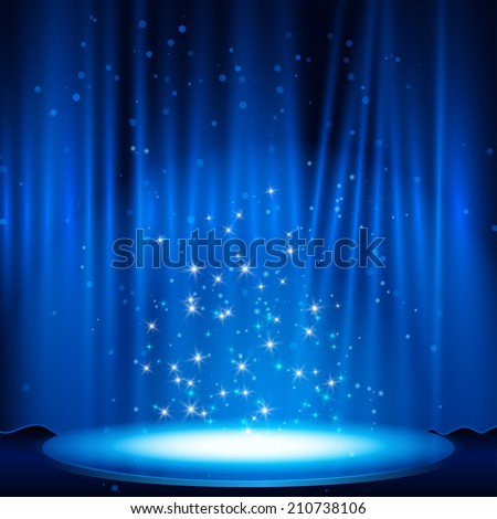 blue Stage with spotlight. illustration. raster version
