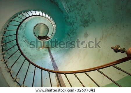 blue staircase of old Hourtin lighthouse, Gironde, France - stock photo