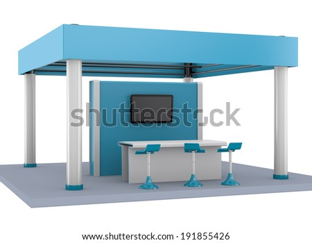 blue stand or booth in a trade-show