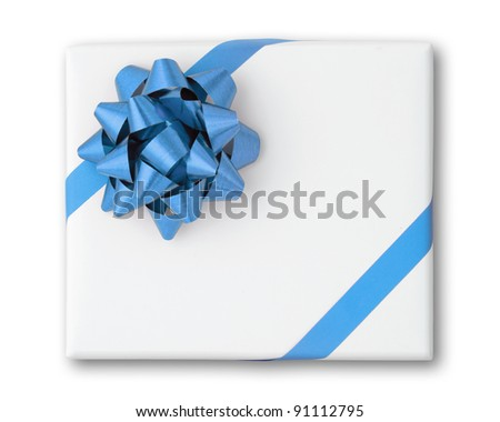 Blue star and Oblique line ribbon on White paper box and shadow - stock photo