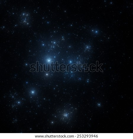 blue star clusters in outer space illustration