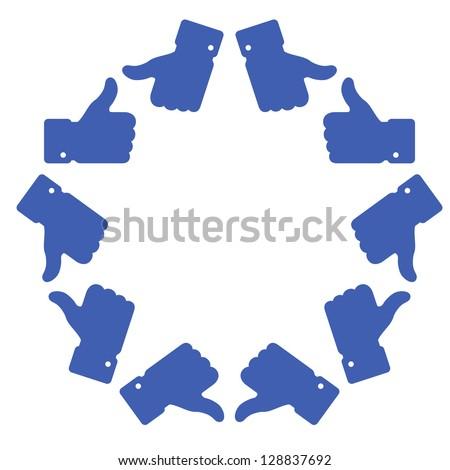 Blue star thumb up logo, raster illustration - stock photo