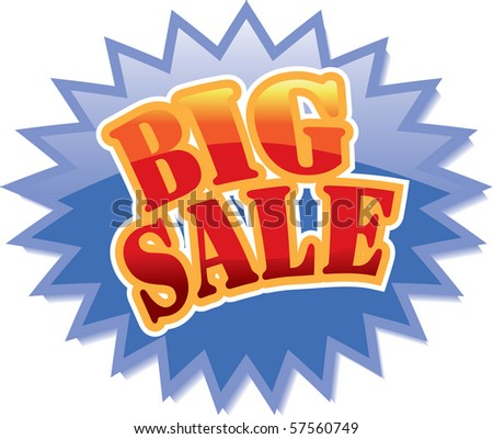 Blue star with red Big Sale text - stock photo