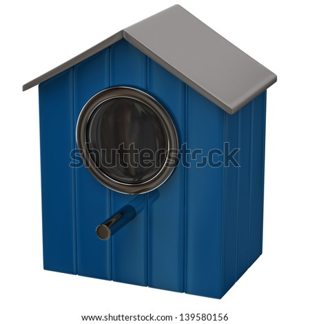 Blue starling house icon - stock photo