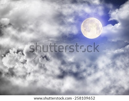 Blue Starry sky with the bright moon.Photography includes a display unit NASA - stock photo