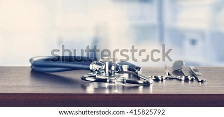 blue stethoscope  - stock photo