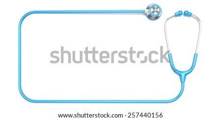 Blue stethoscope as frame, with space for text. Top view - stock photo