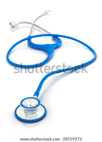 Blue stethoscope in sharp focus, includes pro clipping path.