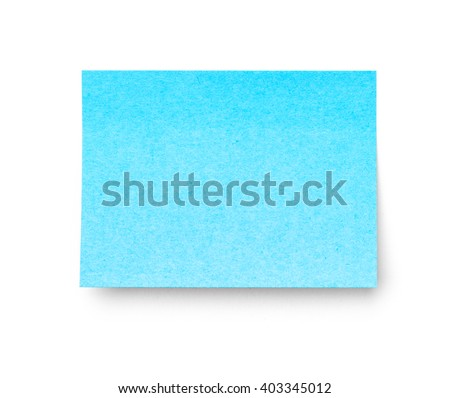 Blue sticky note isolated on white background. Studio shot with clipping path
