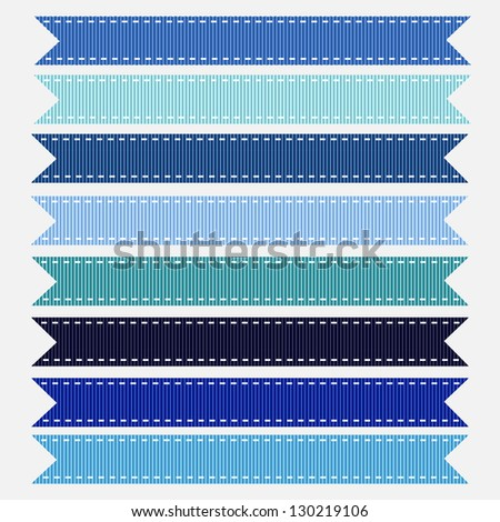 Blue stitched grosgrain ribbon textures. Also see vector version and other color sets. - stock photo