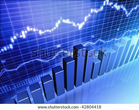 Blue Stock Market Graph - stock photo