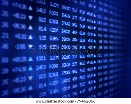 Blue Stock Market Ticker Board - stock photo
