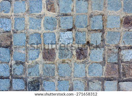 Blue Stone Cobbled Wall - stock photo