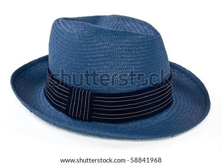 blue straw hat - stock photo
