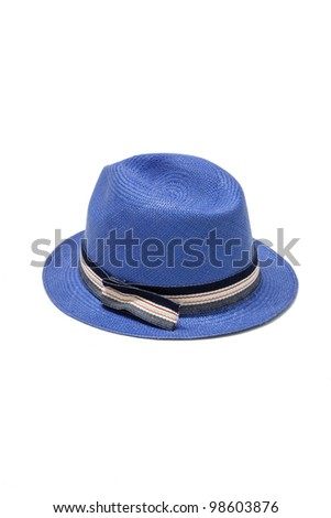 blue straw hat isolated on white - stock photo