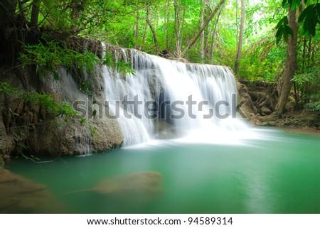 Blue stream water in Thailand - stock photo