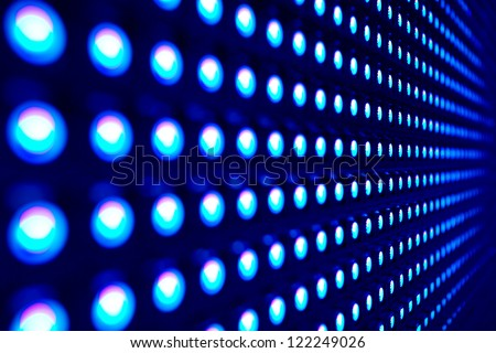 Blue stretch of LED lights - stock photo