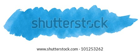 Blue stroke of watercolor paint brush isolated on white - stock photo