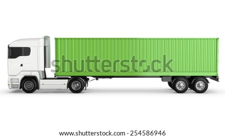 Blue stylized wireframe mesh forklift truck, isolated on white background