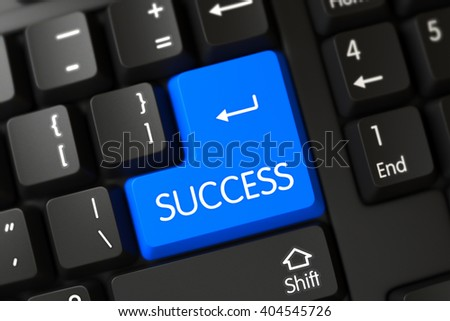 Blue Success Button on Keyboard. A Keyboard with Blue Keypad - Success. Success Concept: Black Keyboard with Success, Selected Focus on Blue Enter Button. 3D Illustration. - stock photo