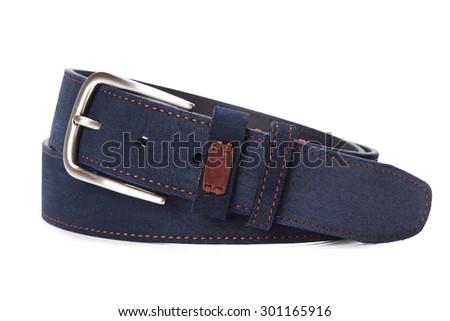 blue suede belt - stock photo