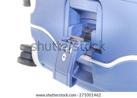 Blue Suitcase on Wheels - stock photo