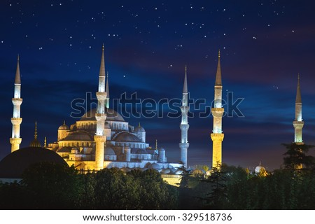Blue Sultanahmet Mosque at night time with fantastic sky and stars, Istanbul, Turkey - stock photo