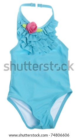 Blue Summer Bathing Suit with Pink Rose Isolated on White with a Clipping Path. - stock photo