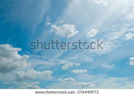 Blue Summer Sunny Sky - stock photo