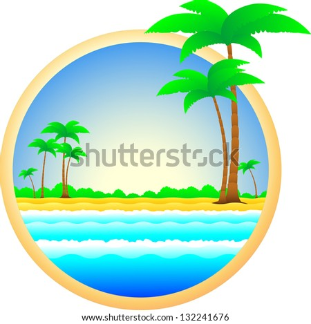 blue summer symbol of sea resort palm trees and sand