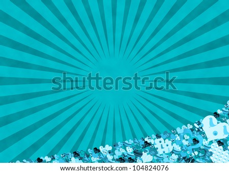 blue sun rays and hearts for a retro abstract background - stock photo