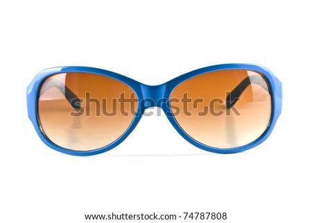 Blue sunglasses isolated on white - stock photo