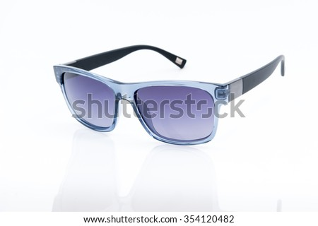 blue sunglasses on a white background