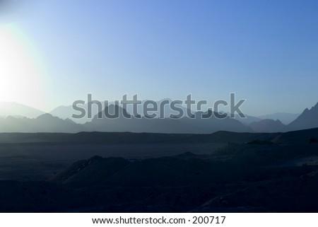 Blue sunset Sinai mountain, Egypt - stock photo