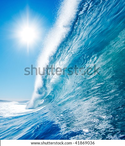 Blue Surfing Wave, Sunny Blue Sky - stock photo