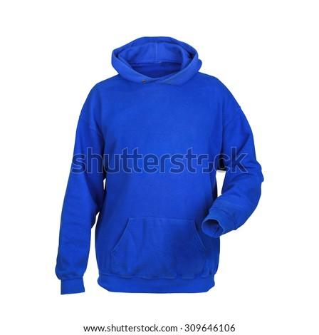 blue sweatshirt with hood isolated on white background - stock photo