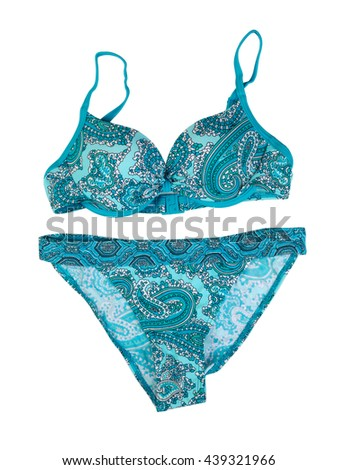 Blue swimsuit with a pattern. Isolate on white.