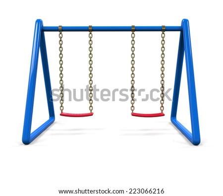 Blue swing isolated on white background - stock photo