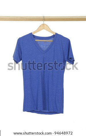 blue t shirt on cloth wooden hangers in row - stock photo