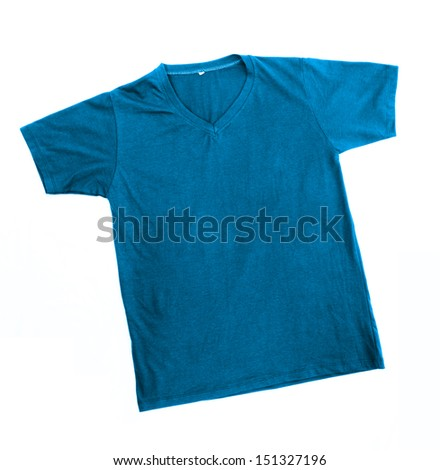 blue t-shirt template ready for further modification isolated on white with working path - stock photo