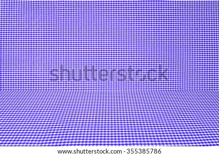 blue tablecloth texture, background with copy space (The pattern on this fabric is common in Thailand and is not subjected to copyright) - stock photo