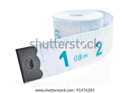 Blue tape measure on white background - stock photo