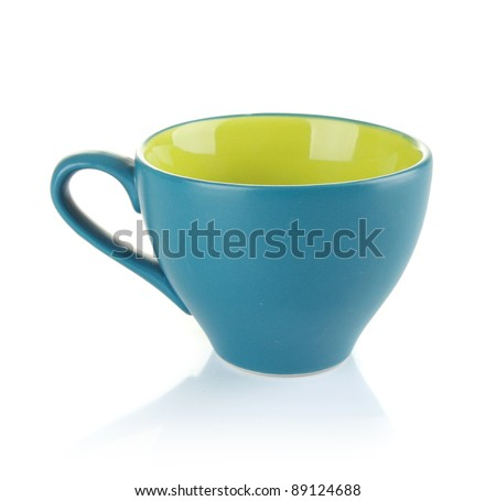 blue tea cup isolated on white background - stock photo