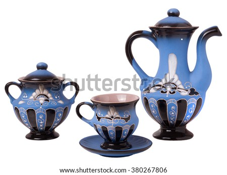 Blue tea set on a white background.