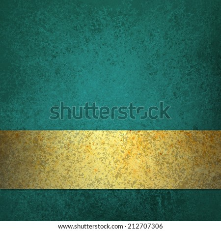 blue teal background with gold ribbon stripe or bar along bottom border with blank copyspace design - stock photo