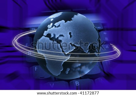 Blue Tech background with a globe