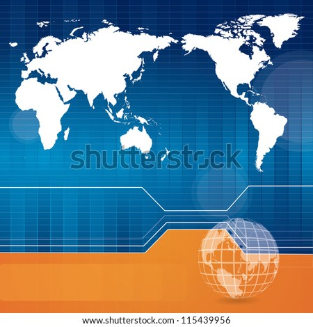 Blue technology background with world map - stock photo