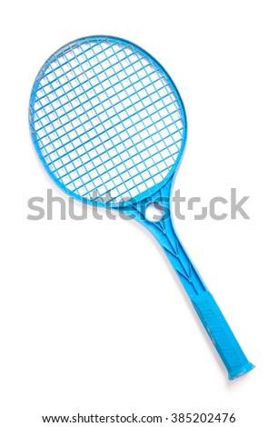 Blue tennis racket isolated on white background - stock photo